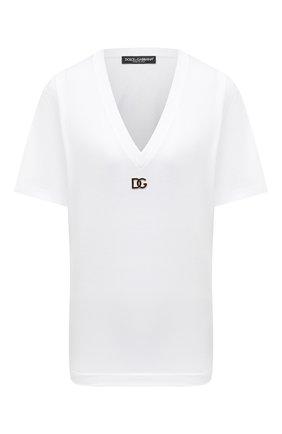 Женская хлопковая футболка DOLCE & GABBANA белого цвета, арт. F8M65Z/FU7EQ | Фото 1