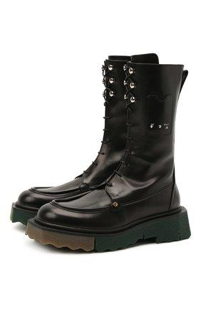 Женские кожаные ботинки OFF-WHITE черного цвета, арт. 0WIE009S21LEA0011000 | Фото 1 (Подошва: Платформа; Материал внутренний: Натуральная кожа; Женское Кросс-КТ: Байкеры-ботинки; Каблук высота: Низкий)
