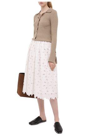 Женская юбка REDVALENTINO белого цвета, арт. VR0RA01P/5TB   Фото 2 (Материал подклада: Хлопок; Материал внешний: Хлопок, Синтетический материал; Длина Ж (юбки, платья, шорты): Миди; Стили: Романтичный; Женское Кросс-КТ: Юбка-одежда)
