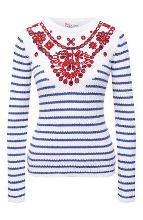 Женский хлопковый пуловер REDVALENTINO голубого цвета, арт. VR0KC08F/5U4   Фото 1 (Рукава: Длинные; Материал внешний: Хлопок; Длина (для топов): Стандартные; Стили: Кэжуэл; Женское Кросс-КТ: Пуловер-одежда)