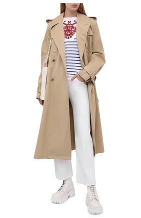 Женский хлопковый пуловер REDVALENTINO голубого цвета, арт. VR0KC08F/5U4   Фото 2 (Рукава: Длинные; Материал внешний: Хлопок; Длина (для топов): Стандартные; Стили: Кэжуэл; Женское Кросс-КТ: Пуловер-одежда)