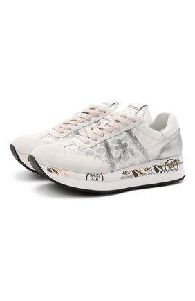 Женские комбинированные кроссовки conny PREMIATA серебряного цвета, арт. C0NNY/VAR4618   Фото 1