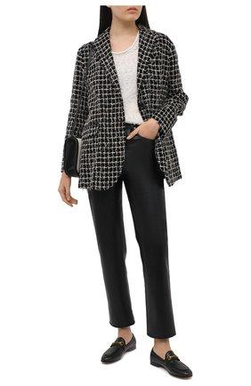 Женский хлопковый жакет KITON черно-белого цвета, арт. D51506K09T29 | Фото 2 (Рукава: Длинные; Длина (для топов): Удлиненные; Материал подклада: Шелк; Материал внешний: Хлопок; Стили: Классический; Женское Кросс-КТ: Жакет-одежда; 1-2-бортные: Однобортные; Случай: Повседневный)