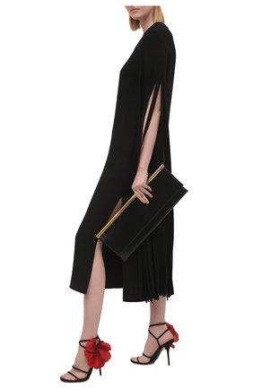 Женские текстильные босоножки keira DOLCE & GABBANA черного цвета, арт. CR1140/A0609   Фото 2 (Каблук высота: Высокий; Материал внутренний: Натуральная кожа, Текстиль; Подошва: Плоская; Материал внешний: Текстиль; Каблук тип: Шпилька)