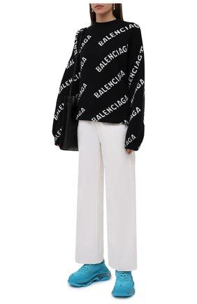 Женские текстильные кроссовки triple s BALENCIAGA бирюзового цвета, арт. 544351/W2GA1 | Фото 2