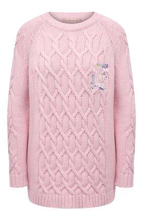 Женский хлопковый свитер ERMANNO FIRENZE розового цвета, арт. D38ET MG091FET | Фото 1
