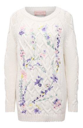 Женский хлопковый свитер ERMANNO FIRENZE белого цвета, арт. D38ET MG09FET | Фото 1