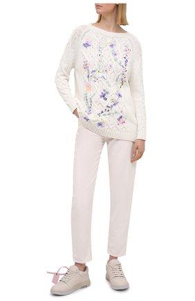 Женский хлопковый свитер ERMANNO FIRENZE белого цвета, арт. D38ET MG09FET | Фото 2