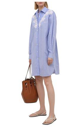 Женское хлопковое платье ERMANNO FIRENZE голубого цвета, арт. D38ET AB13RIG | Фото 2