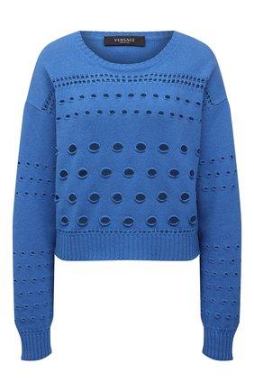 Женский свитер из кашемира и шерсти VERSACE синего цвета, арт. A88903/A237536   Фото 1