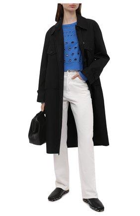 Женский свитер из кашемира и шерсти VERSACE синего цвета, арт. A88903/A237536   Фото 2