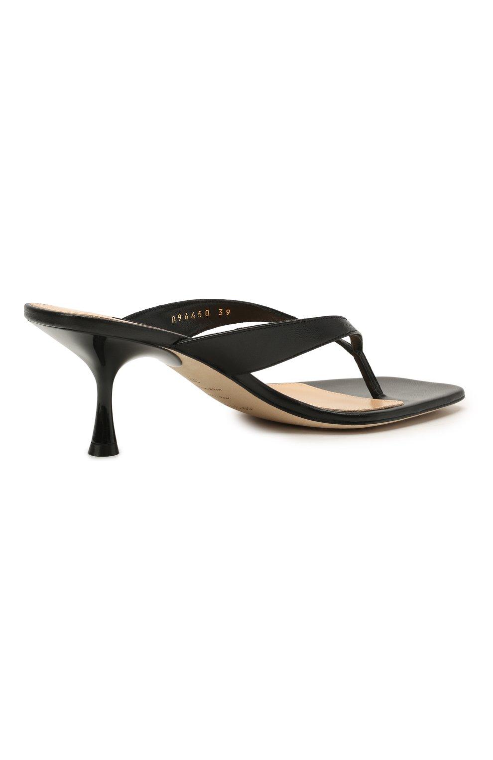 Женские кожаные мюли SERGIO ROSSI черного цвета, арт. A94450-MNAN07   Фото 4