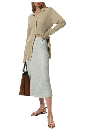 Женская юбка из шелка и хлопка PROENZA SCHOULER WHITE LABEL голубого цвета, арт. WL2127609-KS056 | Фото 2