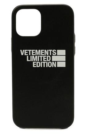 Кожаный чехол для iphone 12 pro max VETEMENTS черного цвета, арт. UE51SA170B 2471/W/BLACK NEXT PR0 MAX | Фото 1