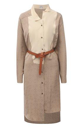 Женское шелковое платье LOEWE бежевого цвета, арт. S359335XEZ   Фото 1