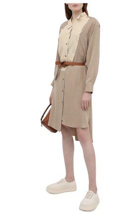 Женское шелковое платье LOEWE бежевого цвета, арт. S359335XEZ   Фото 2