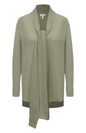 Женская шелковая блузка LOEWE светло-зеленого цвета, арт. S359337XCR | Фото 1