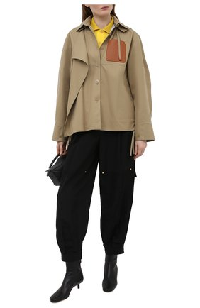 Женские брюки из вискозы и льна LOEWE черного цвета, арт. S540Y04W07   Фото 2 (Длина (брюки, джинсы): Стандартные; Материал внешний: Вискоза, Лен; Стили: Спорт-шик; Женское Кросс-КТ: Брюки-одежда; Силуэт Ж (брюки и джинсы): Джоггеры)