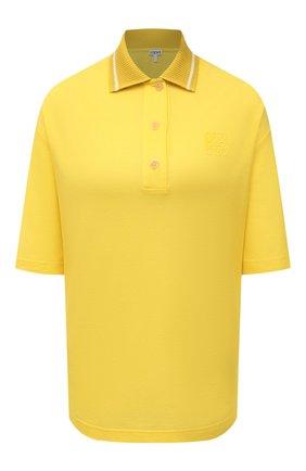 Женское поло из хлопка и кашемира LOEWE желтого цвета, арт. S540Y07X30   Фото 1 (Длина (для топов): Стандартные; Рукава: 3/4; Материал внешний: Хлопок; Стили: Спорт-шик)