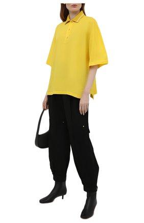Женское поло из хлопка и кашемира LOEWE желтого цвета, арт. S540Y07X30   Фото 2 (Длина (для топов): Стандартные; Рукава: 3/4; Материал внешний: Хлопок; Стили: Спорт-шик)