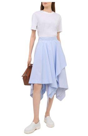 Женская хлопковая юбка LOEWE голубого цвета, арт. S540Y08X25   Фото 2