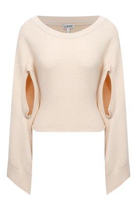 Женский хлопковый пуловер LOEWE бежевого цвета, арт. S540Y14K31 | Фото 1