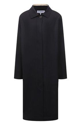 Женское шерстяное пальто LOEWE черного цвета, арт. S540Y01X13   Фото 1 (Рукава: Длинные; Длина (верхняя одежда): До колена; Материал внешний: Шерсть; Стили: Кэжуэл; 1-2-бортные: Однобортные)