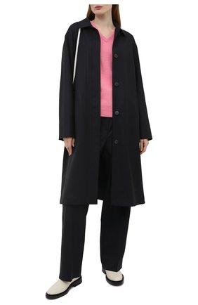 Женское шерстяное пальто LOEWE черного цвета, арт. S540Y01X13   Фото 2 (Рукава: Длинные; Длина (верхняя одежда): До колена; Материал внешний: Шерсть; Стили: Кэжуэл; 1-2-бортные: Однобортные)