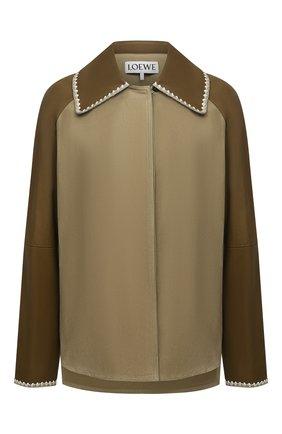 Женская замшевая куртка LOEWE зеленого цвета, арт. S540Y19X01   Фото 1 (Длина (верхняя одежда): До середины бедра; Материал подклада: Хлопок; Рукава: Длинные; Стили: Кэжуэл; Женское Кросс-КТ: Замша и кожа; Кросс-КТ: Куртка)