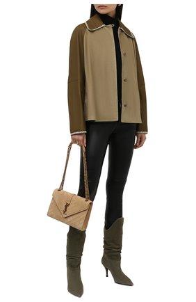 Женская замшевая куртка LOEWE зеленого цвета, арт. S540Y19X01   Фото 2 (Длина (верхняя одежда): До середины бедра; Материал подклада: Хлопок; Рукава: Длинные; Стили: Кэжуэл; Женское Кросс-КТ: Замша и кожа; Кросс-КТ: Куртка)