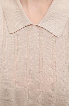Женское поло из шелка и хлопка EMPORIO ARMANI бежевого цвета, арт. 8N2MW9/2MA5Z | Фото 5