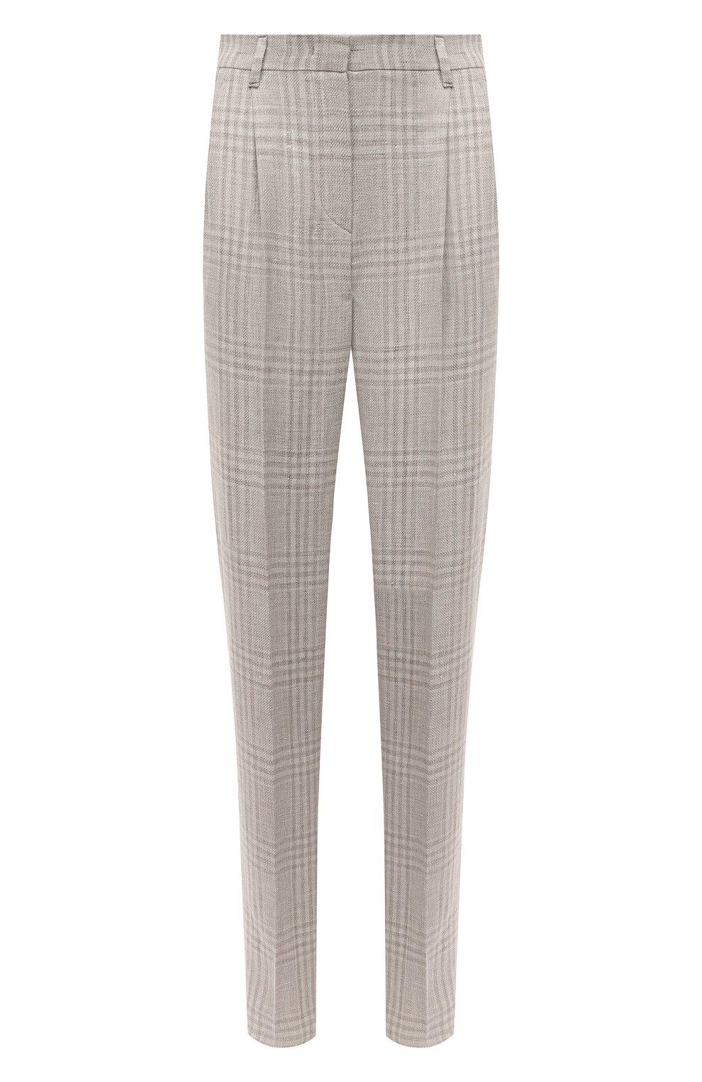 Женские брюки из льна и шерсти EMPORIO ARMANI бежевого цвета, арт. 0NP4CT/02167 | Фото 1