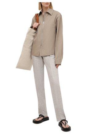 Женские брюки из льна и шерсти EMPORIO ARMANI бежевого цвета, арт. 0NP4CT/02167 | Фото 2