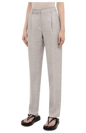 Женские брюки из льна и шерсти EMPORIO ARMANI бежевого цвета, арт. 0NP4CT/02167 | Фото 3
