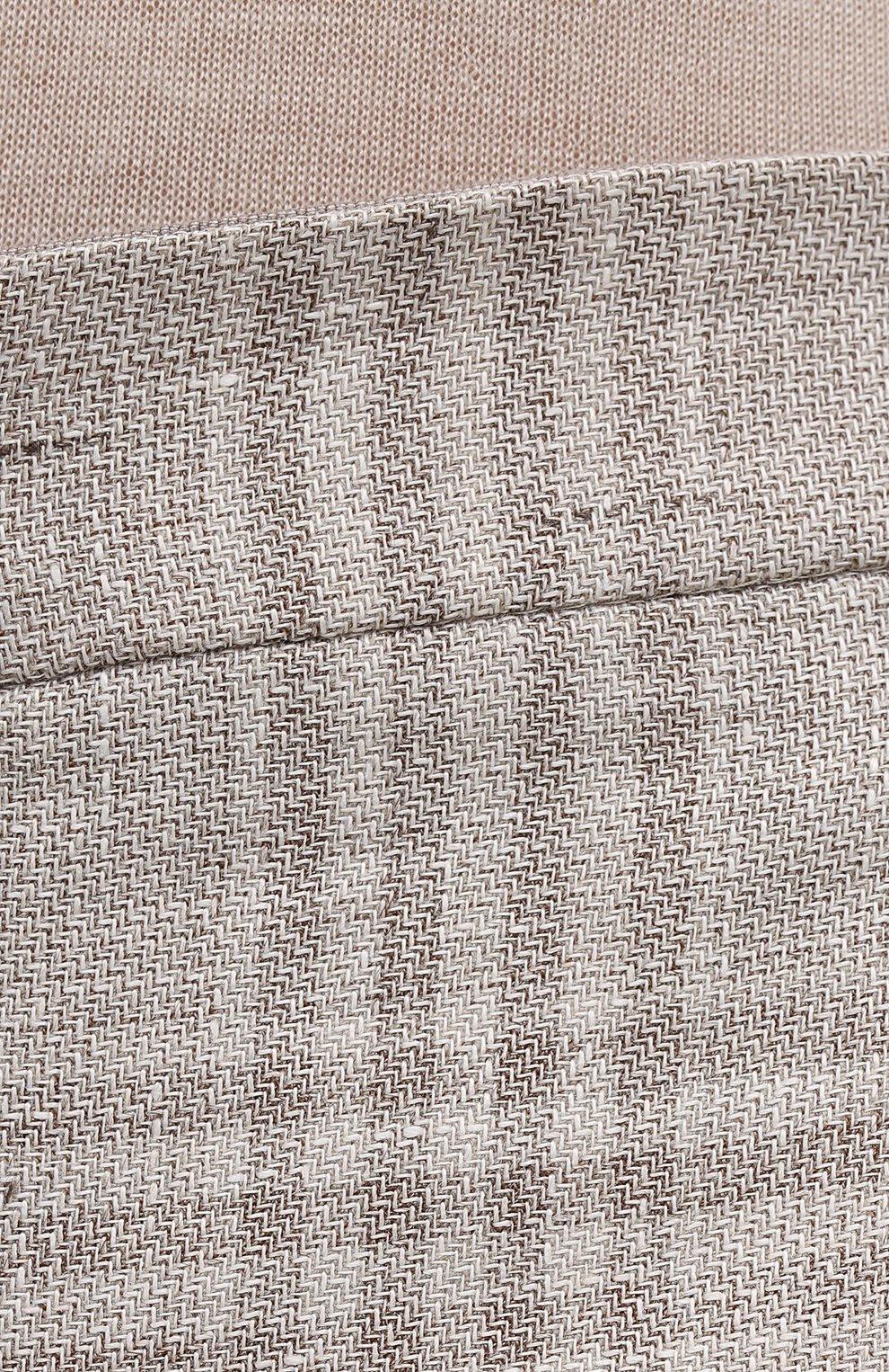 Женские брюки из льна и шерсти EMPORIO ARMANI бежевого цвета, арт. 0NP4CT/02167 | Фото 5