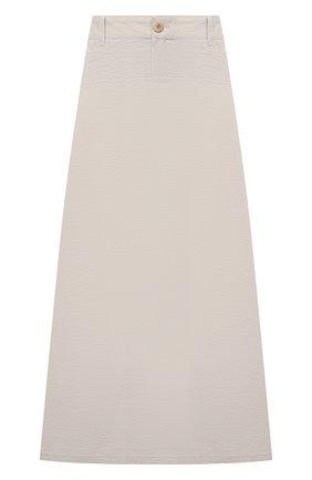 Женская хлопковая юбка EMPORIO ARMANI бежевого цвета, арт. 0NN4AT/02060 | Фото 1