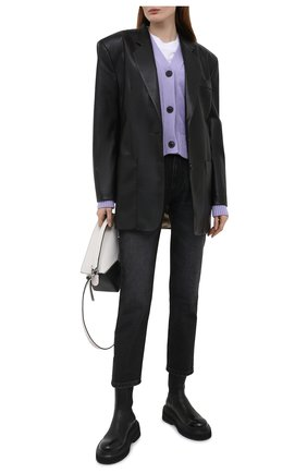 Женский кардиган из хлопка и шерсти AMI сиреневого цвета, арт. E21FK303.016 | Фото 2