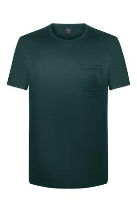 Мужская хлопковая футболка PAUL&SHARK зеленого цвета, арт. C0P1011/C00   Фото 1
