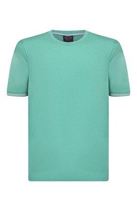 Мужская хлопковая футболка PAUL&SHARK бирюзового цвета, арт. 21411055/C00/3XL-6XL   Фото 1