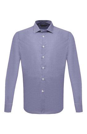 Мужская хлопковая сорочка CORNELIANI синего цвета, арт. 87P010-1111269/00 | Фото 1 (Рукава: Длинные; Длина (для топов): Стандартные; Материал внешний: Хлопок; Случай: Формальный; Стили: Классический; Рубашки М: Slim Fit; Принт: Клетка; Манжеты: На пуговицах; Воротник: Кент)