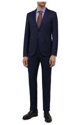 Мужская хлопковая сорочка CORNELIANI синего цвета, арт. 87P010-1111269/00 | Фото 2 (Рукава: Длинные; Длина (для топов): Стандартные; Материал внешний: Хлопок; Случай: Формальный; Стили: Классический; Рубашки М: Slim Fit; Принт: Клетка; Манжеты: На пуговицах; Воротник: Кент)