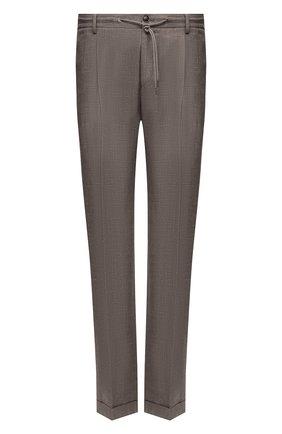 Мужские брюки из шерсти и льна LUCIANO BARBERA коричневого цвета, арт. 114611/45022/58-62 | Фото 1
