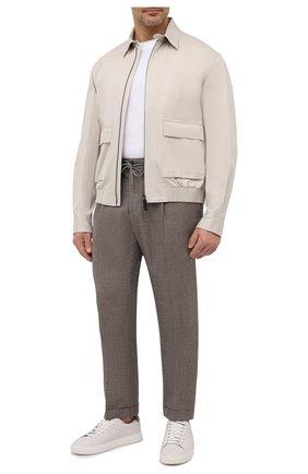 Мужские брюки из шерсти и льна LUCIANO BARBERA коричневого цвета, арт. 114611/45022/58-62 | Фото 2