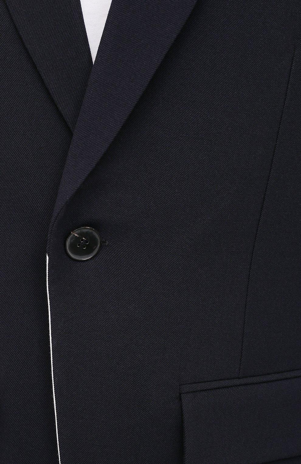 Мужской шерстяной пиджак VALENTINO темно-синего цвета, арт. VV0CEC6075U   Фото 5 (Материал внешний: Шерсть; Рукава: Длинные; Случай: Повседневный; Длина (для топов): Стандартные; Пиджаки М: Свободный; 1-2-бортные: Однобортные; Стили: Минимализм; Материал подклада: Купро)