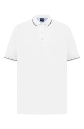 Мужское хлопковое поло PAUL&SHARK белого цвета, арт. 21411331/FEN/3XL-6XL | Фото 1 (Длина (для топов): Удлиненные; Рукава: Короткие; Материал внешний: Хлопок; Застежка: Пуговицы; Стили: Кэжуэл)