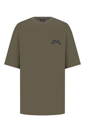 Мужская хлопковая футболка PAUL&SHARK хаки цвета, арт. 21411011/C00/3XL-6XL | Фото 1