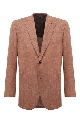 Мужской пиджак из шерсти и шелка BRIONI коричневого цвета, арт. RG0D0Y/P0A3I/RAVELL0 | Фото 1