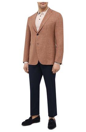 Мужской пиджак из шерсти и шелка BRIONI коричневого цвета, арт. RG0D0Y/P0A3I/RAVELL0 | Фото 2