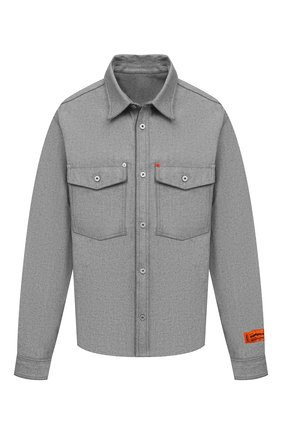 Мужская джинсовая рубашка HERON PRESTON серого цвета, арт. HMYD007S21DEN0024700 | Фото 1 (Материал внешний: Хлопок; Рукава: Длинные; Длина (для топов): Стандартные; Случай: Повседневный; Кросс-КТ: Деним; Стили: Гранж; Манжеты: На пуговицах; Воротник: Кент; Принт: Однотонные)