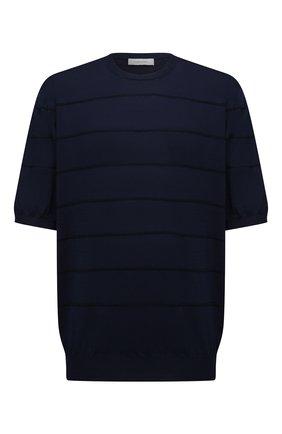 Мужской хлопковое джемпер CORTIGIANI темно-синего цвета, арт. 119113/0500/60-70 | Фото 1